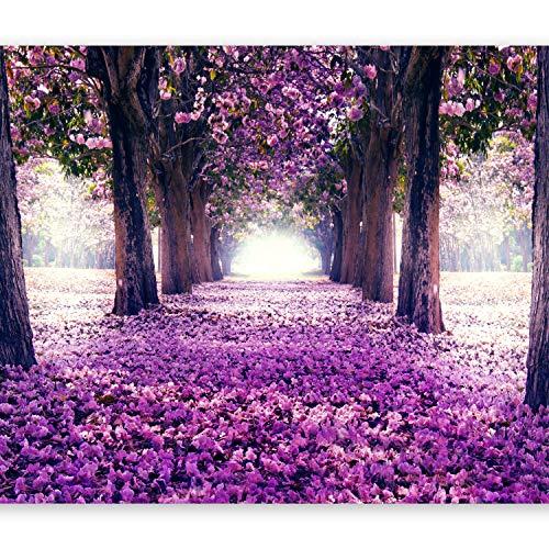 murando Fototapete Weg 350x256 cm Vlies Tapeten Wandtapete XXL Moderne Wanddeko Design Wand Dekoration Wohnzimmer Schlafzimmer Büro Flur Blumen Bäume Allee violett c-A-0031-a-c