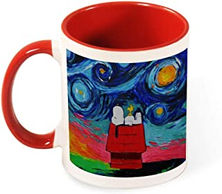 Snoopy Sleeping Art Circle Mug for Tea or Coffee Colorful Pop Art Handle-Gift for a Lover Colleague Friend