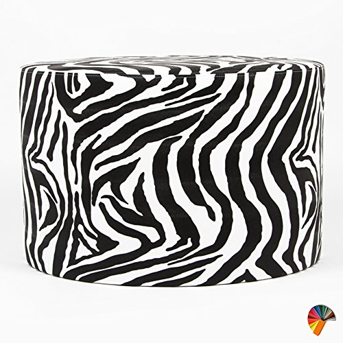 Arketicom Animalier Pouf Poggiapiedi Puff Rotondo Ecopelle Zebra Bianco 55x45 cm