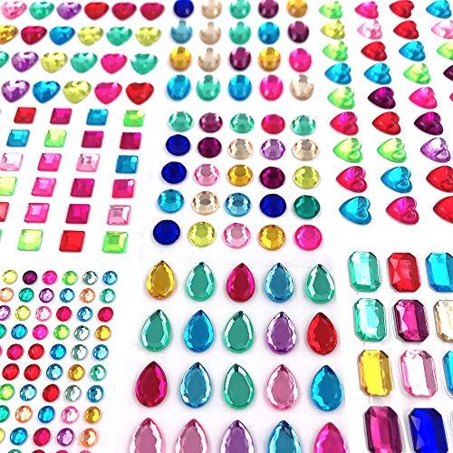 365pcs Jewels Stickers Gem Stickers Rhinestone for Crafts Sticker Gems Self Adhesive Bling Jewels