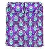 WellWellWell Juego de cama de 4 piezas con diseño de mandala, budismo indio, yoga, multicolor, con cremallera, incluye 1 funda nórdica y 1 funda de almohada, color blanco, 203 x 230 cm