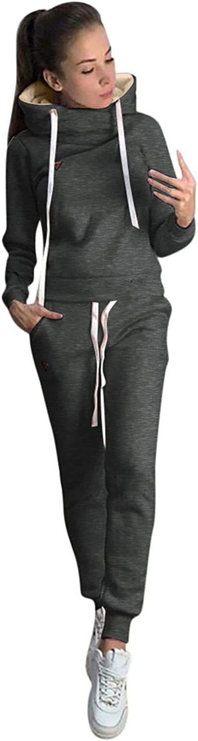 UpdateClassic Womens 2 Pieces Outfits Solid Color Drawstring Thick Cowl Neck Hoodie with Sports Pants Long Sleeve Tracksuits