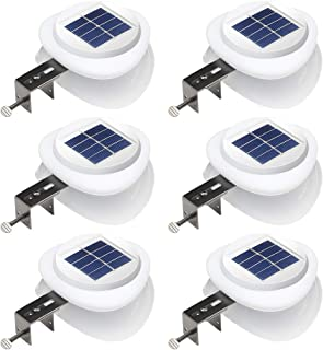 DBF Solar Fence Lights Waterproof Outdoor Solar Gutter Lights Solar Landscape Lighting Dark Sensing Auto On/Off Wall Light for Eaves Yard Pool Garden Garage Highlight Gate, Warm White,6 Packs