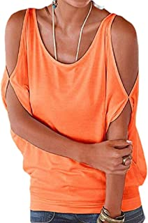 Yisism Women's Crew Neck Loose Fit Short Sleeve Cold Shoulder T-Shirts Blouse Tops