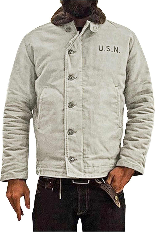 FORUU Wool Coat Men 2021,Winter Vintage Wool Overcoat Solid Loose Casual Single Breasted Men's Coat Warm Winter Jacket