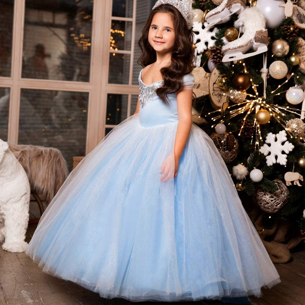 CQDY Girls Cinderella Princess Costume Halloween Party Blue Dress up Fancy Cosplay Kids Ball Gown with Oversleeves