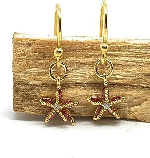 Pendientes de gancho estrella de mar animales marinos plata de ley 925 chapado en oro de 3 micras