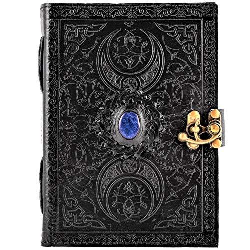 Urban Lapiz Blue Stone 3 Libro negro celta de la sombra y la magia - Diario de piel hecho a mano, 18 x 13 cm, sin forro