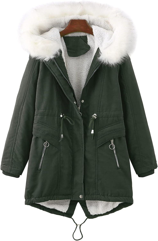 MEWOW Women's Winter Warm Thick Fleece Lined Coat Furry Hood Jacket Casual Parka