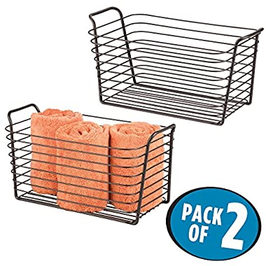 mDesign Storage Basket Bin with Built-in Handles for Organizing Hand Soaps, Body Wash, Shampoos, Lotion, Conditioners, Hand Towels, Hair Accessories, Body Spray - Medium, Pack of 2, Bronze