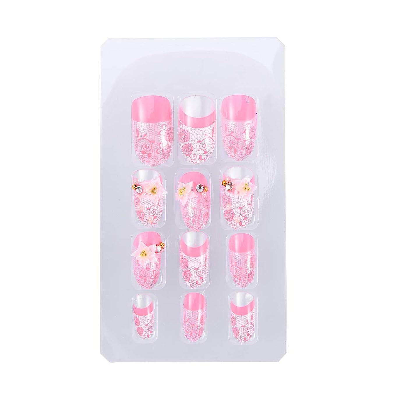 迫害する泣いているいたずらFrcolor ネイルチップ つけ爪 手作りネイルチップ ピンク ネイルジュエリー 3D デコレーション 中等長さ ネイルアート 24枚セット