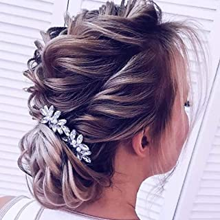 Catery Bride Wedding Hair Pins Clip Set Crystal Pearl Hair Jewelry Headpieces Bridal Decorative Prom Hair Accessories for Women and Girls (Silver)