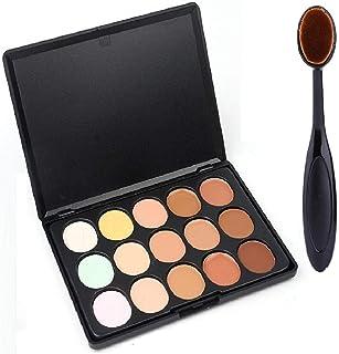 Spanking Beauty 15 Colors Contour Face Cream Makeup Concealer Palette + Oval Make up Brush
