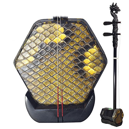 OrientalMusicSanctuary Professional Black Sandalwood Erhu with Engraved Dragon Head - with USA Warranty - Two Stringed Chinese Violin Fiddle Instrument