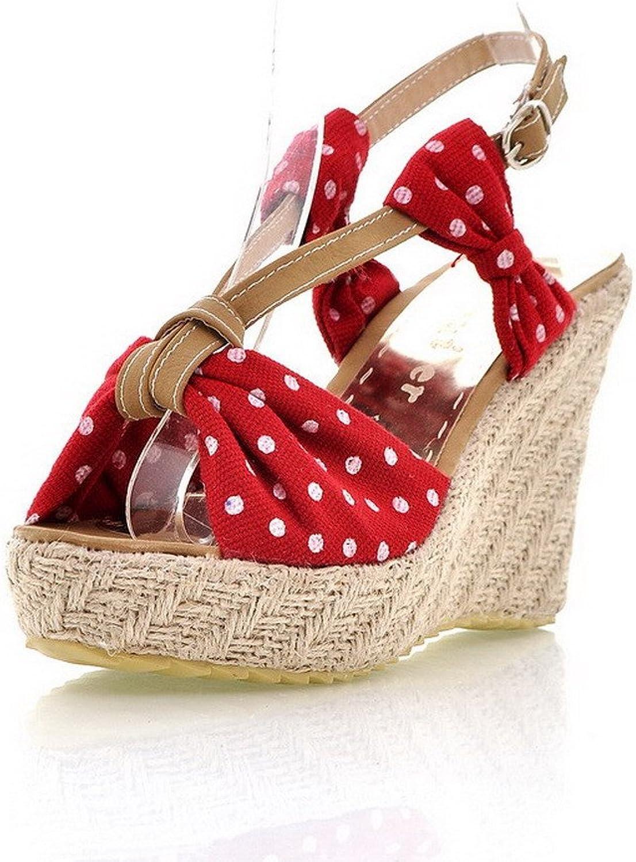 WeenFashion Women's Frosted Buckle Open Toe High-Heels Polka-dots Platforms & Wedges