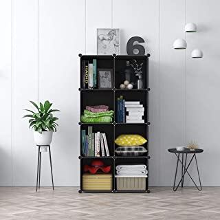 House of Quirk 8-Cube DIY Shoe Rack Storage Drawer Unit Multi Use Modular Organizer Plastic Cabinet Without Doors - ((Black))