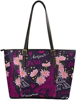 Cherry Blossom France Eiffel Tower Purse Handbag Tote Bag Leather Lightweight for Womens