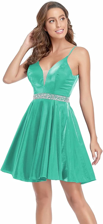 MARSEN Glitter V Neck Homecoming Dresses Short Spaghetti Strap Beaded Prom Dress with Pockets