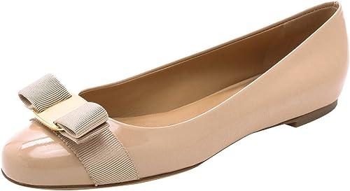 DYF Noeud papillon chaussures à fond plat à tête ronde bouche peu profonde couleur abricot,boucle métal,38