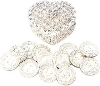 TINGKU Spanish Silver Wedding Unity Coins Set Arras de Boda Wedding Arras Coins Ceremony Souvenirs Accessories with Heart Shaped Box