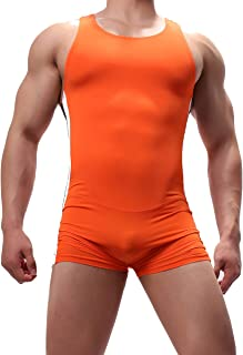 YUFEIDA Mens Athletic Supporters Bodysuit Slim Fit Active Wrestling Leotard Stretchy Base Layers Jumpsuit Boxer Singlet