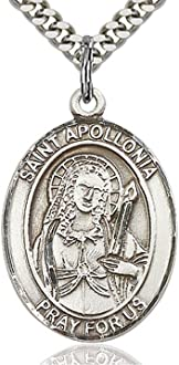 Choose Chain Customize Heartland Engravable Mens Sterling Silver Saint Aidan Oval Medal
