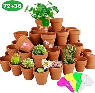 Nilos 72 Pcs Small Mini Clay Pots - 2`` Terracotta Pot with 36pcs Plant Labels Clay Ceramic Pottery Planter Pots Cactus Flower Terra Cotta Pots Succulent Nursery Pots for Plants, Wedding, Craft