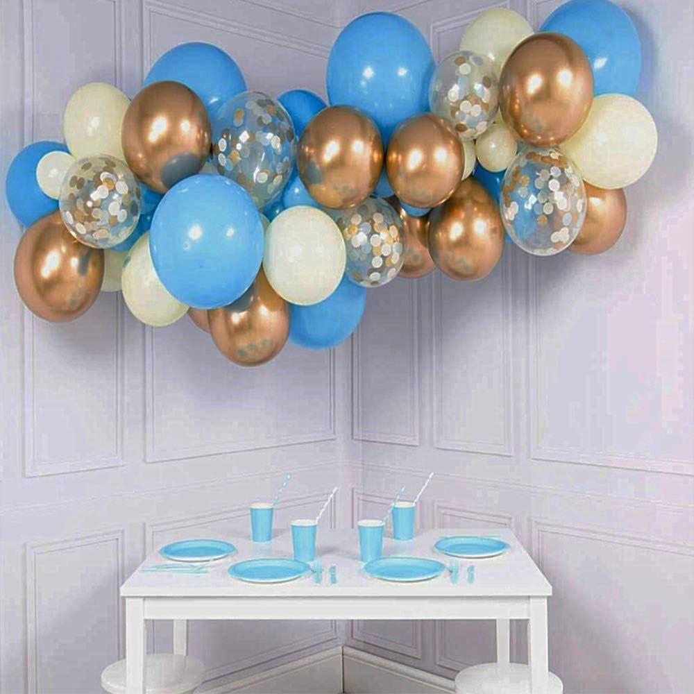 UNSIHOP Guirnalda de Globos de Látex, Azules, Dorados, Blancos y Transparentes para Fiestas, Globos Multicolor para Decorar en Celebraciones, Bodas, Cumpleaños