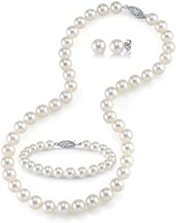 "THE PEARL SOURCE 14K Gold Round White Freshwater Cultured Pearl Necklace, Bracelet & Earrings Set in 18"" Princess Length for Women"