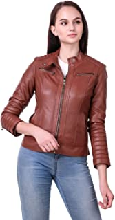 Leather Retail Woman Brown Color Faux Leather Jacket