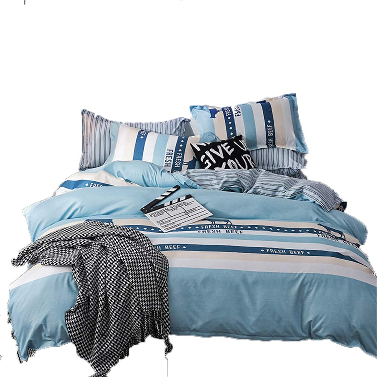 Luofanfei Kids Duvet Cover Set Cotton Striped Pattern Twin Bedding Cover Sets for Teens Reversible bluee Stripes Comforter Cover Twin Size for Decorate Bedroom,3 Pieces Bed Set