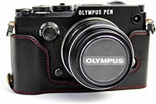 BolinUS Handmade Genuine Real Leather Half Camera Case Bag Cover for Olympus PEN-F Bottom Opening Version + Hand Strap - Black