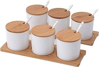 Msuis Pots à éPices 300 Ml,Pors D'éPices Vide, Avec Couvercle Et CuillèRe Sel Sugar Pots De Rangement, Couvercles De Bambo...