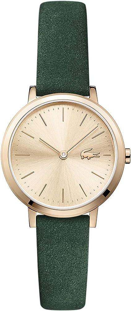 Lacoste, orologio analogico al quarzo per donna, con cinturino in pelle e cassa in acciaio 2001050