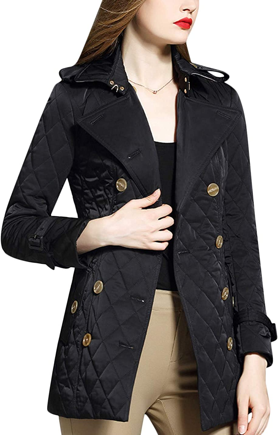 Uaneo Women's Casual Winter Diamond Quilted Long Jacket Coat Outerwear (Small, Black)