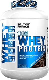 Evlution Nutrition 100% Whey Protein, 25g of Whey Protein, 6g of BCAAs, 5g of Glutamine, Gluten Free (4 LB, Double Rich Chocolate)