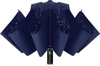 Agedate 折りたたみ傘 自動開閉 逆折り おりたたみ傘 メンズ 12本骨 逆さ傘 大きい 折り畳み傘 風に強い 超撥水 収納ポーチ付き (ブルー)