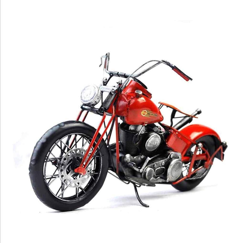 descuento online WZLDP Retro Retro Retro mobiliario Creativo Modelo de Motocicleta Accesorios Estudio Ventana Bar fotografía Metal Estilo artesanía Decorativa Negro Rojo Modelos Diecast (Color   Rojo)  descuento