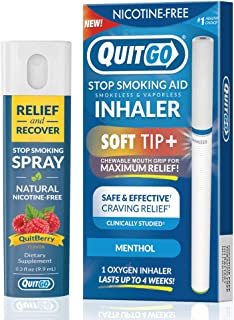QuitGo Dual Support Quit Kit with Smoke-Free Soft Tip Inhaler, Herbal Relief & Recover Spray to Help Stop Smoking (Menthol, Dual Support)