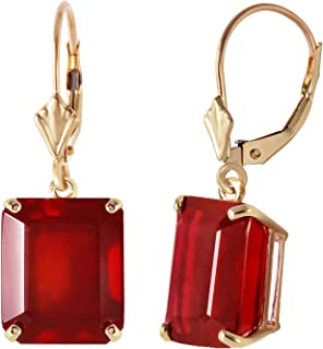 💎Galaxy Gold💎 Beautiful 15 Carat 14K Solid Yellow Gold Leverback Earrings with Natural Ruby High Polished Finish Octagon Shape Emerald Cut Natural Heat Treated Ruby - Dangle Earring Made in USA