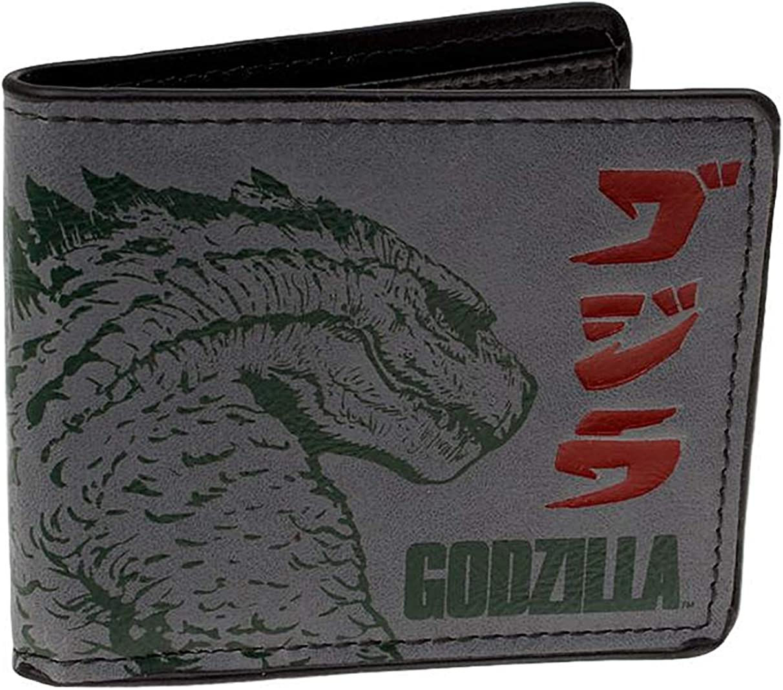 Godzilla Monster Character Leather Bi Fold Wallet