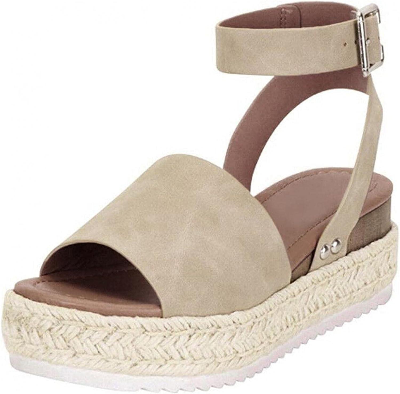 Kuokuo Women's Thick Bottom Flat Sandals Peep Toe Ankle Strap Bu
