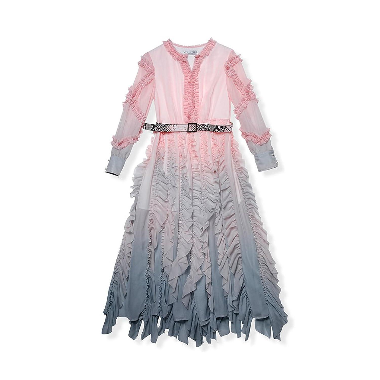 WYYY ドレス 夏の季節 ロングスカート ロングスリーブ O襟 折りたたむ フラッシング グラジエント セレブリティ シフォンドレス イブニングドレス (サイズ さいず : M)