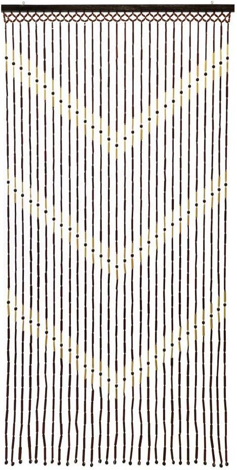 JVL Provence-Puerta Colgante de Cuentas de Madera, Cortina de cheurón, 90 cm x 180 cm Aprox, Multicolor, 90 x 180cm Approx