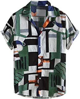 Men Fashion Short Sleeve Shirt Tops, Male Color Patchwork Printed T-shirt Blouse Tunic Tops Summer Loose Buttons Casual Sweatshirt Tops