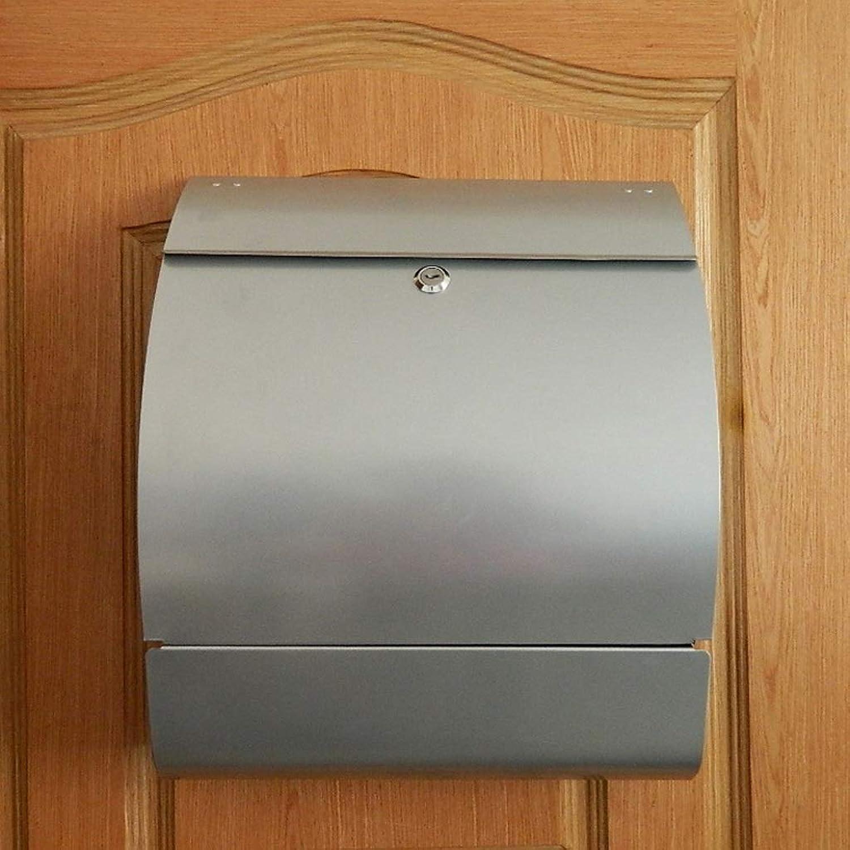 RMJAI メールボックス 電流を通されたシート壁掛けメールレターポストボックスメールボックス屋外ロック付き防水で新聞ホルダー - シルバー