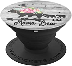 Black Floral Mama Bear and two Cubs On Vintage Gray Look PopSockets Grip and Stand for Phones and Tablets