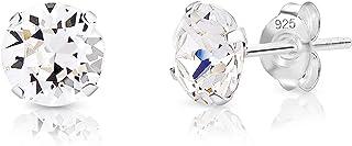 DTPsilver - Boucles d'oreilles/Clous en Argent Fin 925 et Cristaux de Swarovski® Elements Ronds - Diamètre: 6 mm - Choix d...