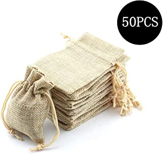 Sansheng packs 50 pieces of 3.2x4 inch twin-rope cotton and linen sacks, plain cloth sacks, jewelry bags, turnover bags, t...