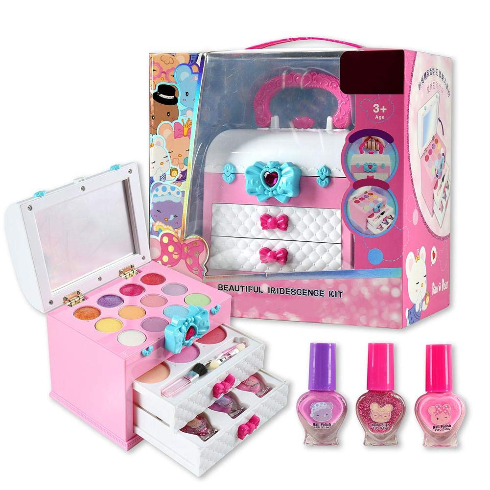 Hangarone Juguetes de Maquillaje para niños, Juego de imaginación para niñas Juego de Maquillaje Kit de cosméticos Juguete con Caja portátil para niños Juegos de Maquillaje Regalos: Amazon.es: Hogar